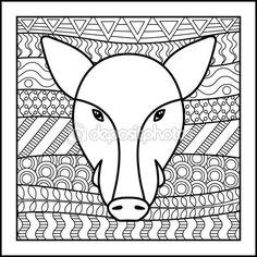 Signo del zodiaco chino jabalí — Vector de stock
