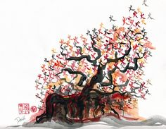 """Davi Yael-Cheng's art mixes traditionally Chinese and Jewish motifs. """"Maybe because Passover was coming up, I thought about Moses and the burning bush, and thought it would be interesting to put the actual Chinese character for """"fire"""" or """"flame"""" (火) on some branches, and I used the colors of the flame instead of black ink."""""""