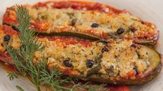 Recipe from Everyday Gourmet with Justine Schofield Zucchini boats Delicious Dinner Recipes, Good Healthy Recipes, Whole Food Recipes, Vegetarian Recipes, Cooking Recipes, Yummy Recipes, Vegetable Side Dishes, Vegetable Recipes, Stuffed Zucchini