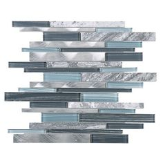 Shop for TileGen. Slender Random Sized Mixed Material Tile in Blue/Gray Wall Tile Get free delivery On EVERYTHING* Overstock - Your Online Home Improvement Shop! Get in rewards with Club O! Grey Wall Tiles, Grey Backsplash, Backsplash Ideas, Adhesive Backsplash, Tile Ideas, Stone Mosaic Tile, Mosaic Glass, Blue Mosaic Tile, Marble Mosaic