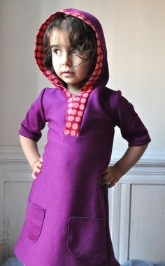 Cute hoodie dress PDF pattern by one of my favorite pattern makers.  I'm going to have to make these for some little ones!