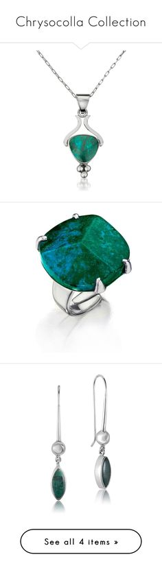 """Chrysocolla Collection"" by revekarose ❤ liked on Polyvore featuring jewelry, pendants, green jewelry, pendant jewelry, green pendant, charm pendant, rings, green ring, earrings and earring jewelry"
