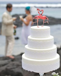 Pink Flamingo Cake Topper: Tropical Bride and Groom by lovenesting