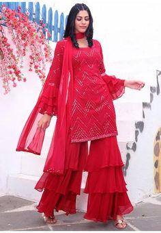 Pink Wedding Sangeet Party Sharara Salwar Kameez SFKSF54305R Regular price £125.90 GBP Sharara Suit, Salwar Suits, Salwar Kameez, Fashion Hub, Indian Fashion, Pakistani Suits Online, Sharara Designs, Indian Ethnic Wear, Wedding Suits