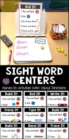 Sight Words Centers These hands-on sight word centers have been a game changer in my grade classroom! The clear, visual directions are perfect for beginning readers and ELLs. We use them in our literacy center rotations every week because they work wit Centers First Grade, 2nd Grade Ela, First Grade Reading, First Grade Classroom, Future Classroom, Grade 1, First Grade Games, 2nd Grade Spelling, 1st Grade Writing