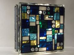 Stained Glass Block Mosaic in Blues by ColorWithLight on Etsy (christmas window lights stained glass)- gift idea! Decorative Glass Blocks, Lighted Glass Blocks, Stained Glass Designs, Stained Glass Panels, Mosaic Glass, Glass Art, Christmas Window Lights, Light Up Canvas, Glass Block Crafts