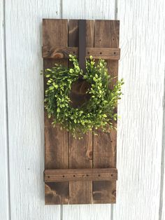 Farmhouse shutter shutter wall decor rustic by KeywheatKreations