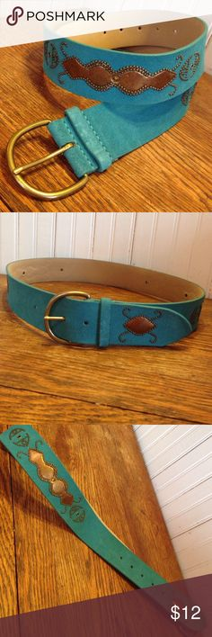 """Genuine leather turquoise studded belt sz medium Genuine leather turquoise studded belt sz medium , suede feel studs in bronze color, 37"""" from buckle to 1st hole, beautiful in great condition Accessories Belts"""