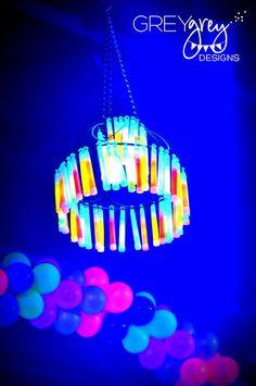 Glow stick chandelier by GreyGrey Designs: {My Parties} Ryans Glow in the Dark 18th Birthday Party. Great idea!!