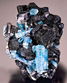Aquamarine on Schorl