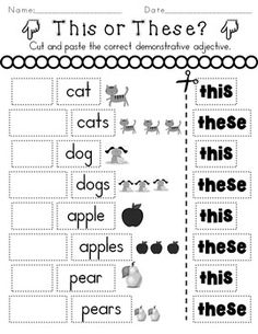 Determiners Demonstratives Worksheets Distance Learning by Rock Paper Scissors English Grammar For Kids, Learning English For Kids, Teaching English Grammar, English Worksheets For Kids, English Lessons For Kids, Kids Math Worksheets, 1st Grade Worksheets, English Reading, English Language Learning
