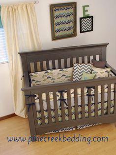 Multi Color Chevron with navy and a retro car fabric crib bedding