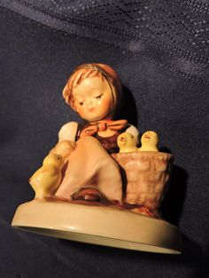 Items similar to Chick Girl Hummel Girl w/ Basket of Chicks Figure W. Germany Discontinued Figurine on Etsy Hummel Figurines, Collectible Figurines, Sweet Girls, Little Girls, Rubber Doll, Home Decor Items, Cool Cats, Cute Babies, Vintage Items