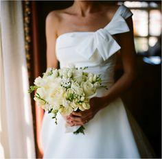 asymmetric-wedding-dress-white-bridal-bouquet