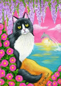ACEO with watercolors, acrylics and designer gouache.  Tuxedo Cat in Paradise - surrounded by beach roses, wisteria and a dolphin jumping at sunrise!