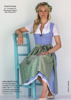 Dirndl luxery style, wonderful flowers, blue, green colors, gourgous hairstyle, trachten, mode, fashion, bavarian, german