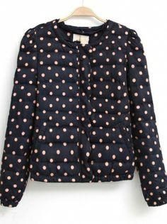 dark bluelong sleeve round necl zipper polyester coat  $98