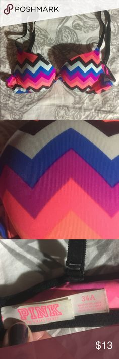 VS Where Everywhere Bra Gently used Victoria's Secret t-shirt bra, size 34A. Fun and bright colors in a chevron pattern. Adjustable straps and an underwire. EUC. ❌NO TRADES❌ PINK Victoria's Secret Intimates & Sleepwear Bras