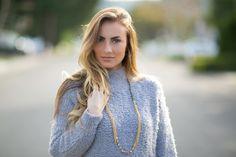 OOTD: Fuzzy gray sweater & statement heels. #HelloGorgeous