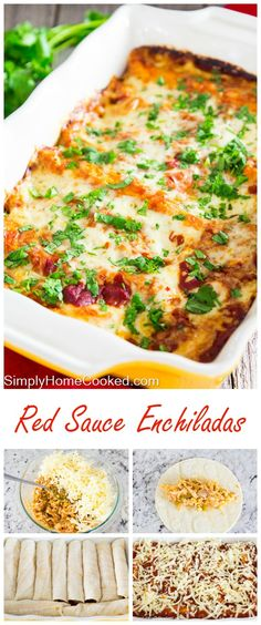 Authentic red sauce enchiladas loaded with chicken, cheese, enchilada sauce, and lots of spices. (Mexican Recipes With Chicken) Authentic Mexican Recipes, Mexican Food Recipes, Enchilada Sauce, Chicken Enchilada Casserole, Enchilada Recipes, Cheese Enchiladas, Beef Enchiladas, Seafood Enchiladas, Sauce Recipes