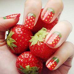 New 24 pieces Cute Strawberry Short False Nail with Free Glue Girls Children Cartoon Pattern Style Full Cover Artificial Nail Spring Nail Art, Summer Acrylic Nails, Summer Nails, Manicure Steps, Diy Manicure, Impress Nails, Cute Strawberry, Nail Length, Toe Nail Designs