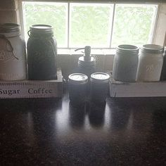 Utensil wide mouth quart planter box with handles canister gallon mason planter box with stencil and handles salt and pint jars-with hand hammered S&P lids soap pint jar IN THE NOTES OF THE ORDER: please indicate what Gallon Mason Jars, Quart Jar, Canister Sets, Canisters, Tracy Thomas, Coffee Flour, Storage Sets, Painted Mason Jars, Utensil Holder