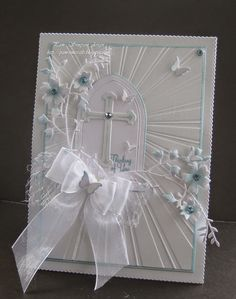 """Thinking of You"" Card (Note to me: I love this card as an Easter card.) (created using EC Crafts ""Dazzling Sunburst"" embossing folder; cross discontinued by MB) First Communion Cards, Première Communion, Confirmation Cards, Baptism Cards, Christening Card, Ideas Bautizo, Christian Cards, Embossed Cards, Get Well Cards"