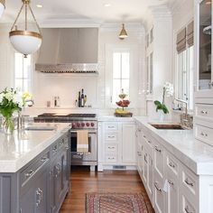 Mom's New Kitchen! White Kitchen Gray Island Design Ideas, Pictures, Remodel and Decor by Rebekah Zaveloff / KitchenLab Kitchen Redo, Kitchen And Bath, New Kitchen, Kitchen Dining, Kitchen Cabinets, White Cabinets, Kitchen Ideas, White Counters, Kitchen White