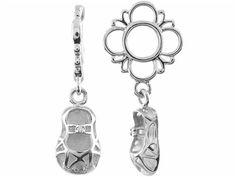 Storywheel Created White Sapphire Baby Shoe Dangle Bead / Charm