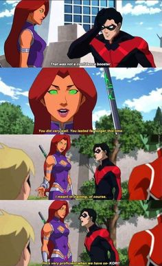 Kori doesn't know when to quit lol. Starfire and Nightwing. Teen Titans Fanart, Teen Titans Go, Teen Titans Robin, Teen Titans Judas Contract, Nightwing And Starfire, Nightwing Cosplay, Batman Y Superman, Original Teen Titans, Nananana Batman