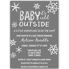 40 best winter baby shower ideas images on pinterest baby shower little snowflake baby shower invitation gray filmwisefo