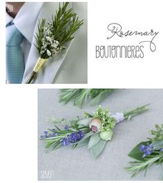 rosemary or other herb boutonnieres. can  be dried later and used in cooking!