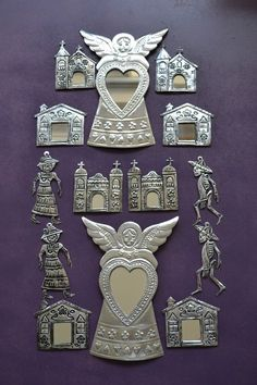 Ideas for other religious symbols and picture to use on foil tape. Mexican Artwork, Mexican Folk Art, Mexican Design, Mexican Style, Soda Can Crafts, Mexican Crafts, Mexico Art, Tin Art, Religious Art