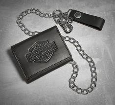 Men's Bar & Shield Logo Tri-Fold Biker Wallet