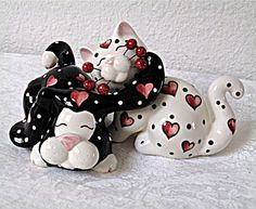 Cats & hearts salt and pepper shakers