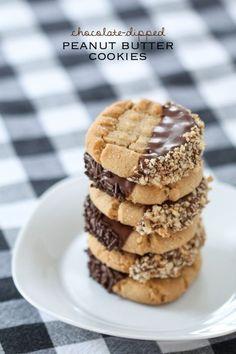 Homemade Peanut Butter Cookies - Peanut Butter Chocolate Dipped Cookies | Homemade Recipes http://homemaderecipes.com/course/breakfast-brunch/20-homemade-peanut-butter-cookies-recipes