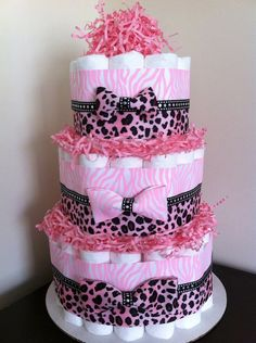 3 Tier Pink Safari Diaper Cake,Baby Girl Jungle Safari Baby Shower, Pink Zebra Cheetah Diaper Cake, Baby Shower Centerpiece