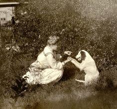 Florida Memory - Minnie Clark with her dog in Apalachicola, Florida.