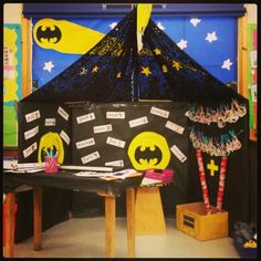 Batcave with maths focus we made in our reception class...includes adding tubes...Superheroes topic