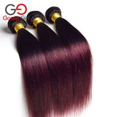 Ombre Braziliaanse Haar Straight 1B 99J/Bourgondië Braziliaanse Haar 3 Bundels Braziliaanse Haar Weave Bundels Two Tone Menselijk Haar Weave