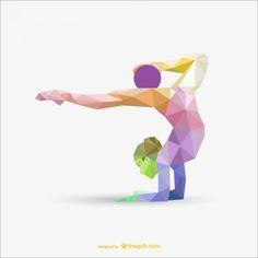 Mulher ginástica rítmica com design cor triângulo bola