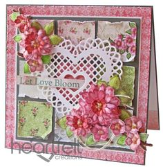 Patchwork Heart Blooms - great card using Birds and Blooms from Heartfelt Creations.