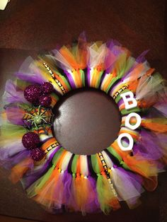 This is my Halloween wreath I made after seeing ideas on Pinterest!