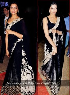 Dipika Padukone Black Saree In Viscose . Shop at - http://www.gravity-fashion.com/dipika-padukone-black-saree-in-viscose-gf7140266.html