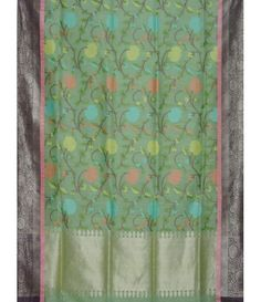 Sea Green Banarasi Silk Lenin handloom Saree