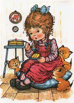 Vintage Ansichtskarte 70's süßes Mädchen und von CuteEyeCatchers