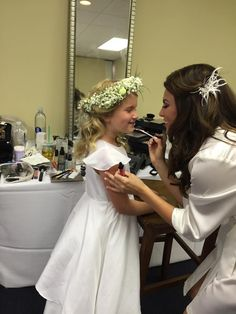 We love that our bride is starting her flower girl out with a little DMA lip shine! Beautiful bride & flower girl! http://www.dualityartistry.com
