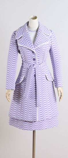 1960s Lilli Ann Purple Optical Stripe Coat and Dress