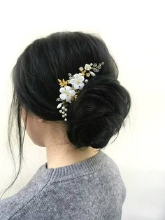 Flower Hair Comb Wedding Hairpiece Gold Hair Piece Floral Headpiece Bridal Floral Hair Accessories Bridal Hair Comb Wedding Hair Accessories