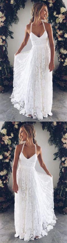 White Bridal Dress V Neck Party Dress Spaghetti Prom Dress Lace Long Prom Dress, White Evening Dress Wedding Dress Charming Bridal Dresses Wedding Gown evening gowns for wedding White Bridal Dresses, Bridal Gowns, Wedding Gowns, Wedding Ceremony, Wedding Venues, White Gowns, Wedding Evening Gown, Evening Dresses, Prom Dresses